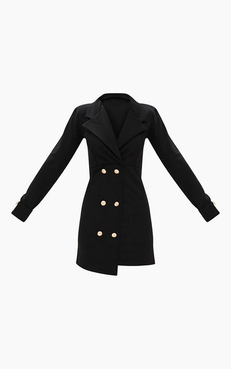 Black Gold Button Detail Blazer Dress 3