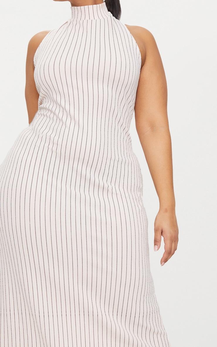 Plus Nude Pinstripe High Neck Maxi Dress 5