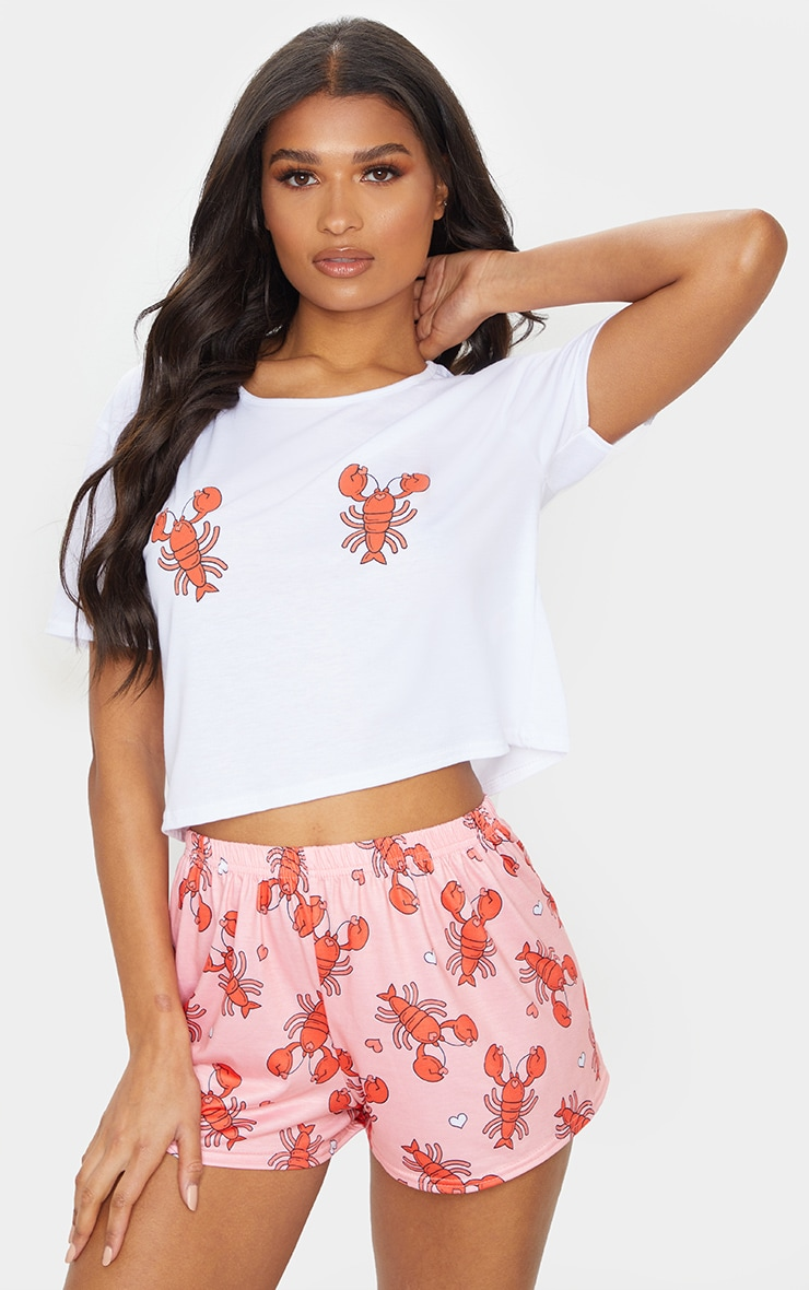 Pink Lobster Print Short PJ Set 1