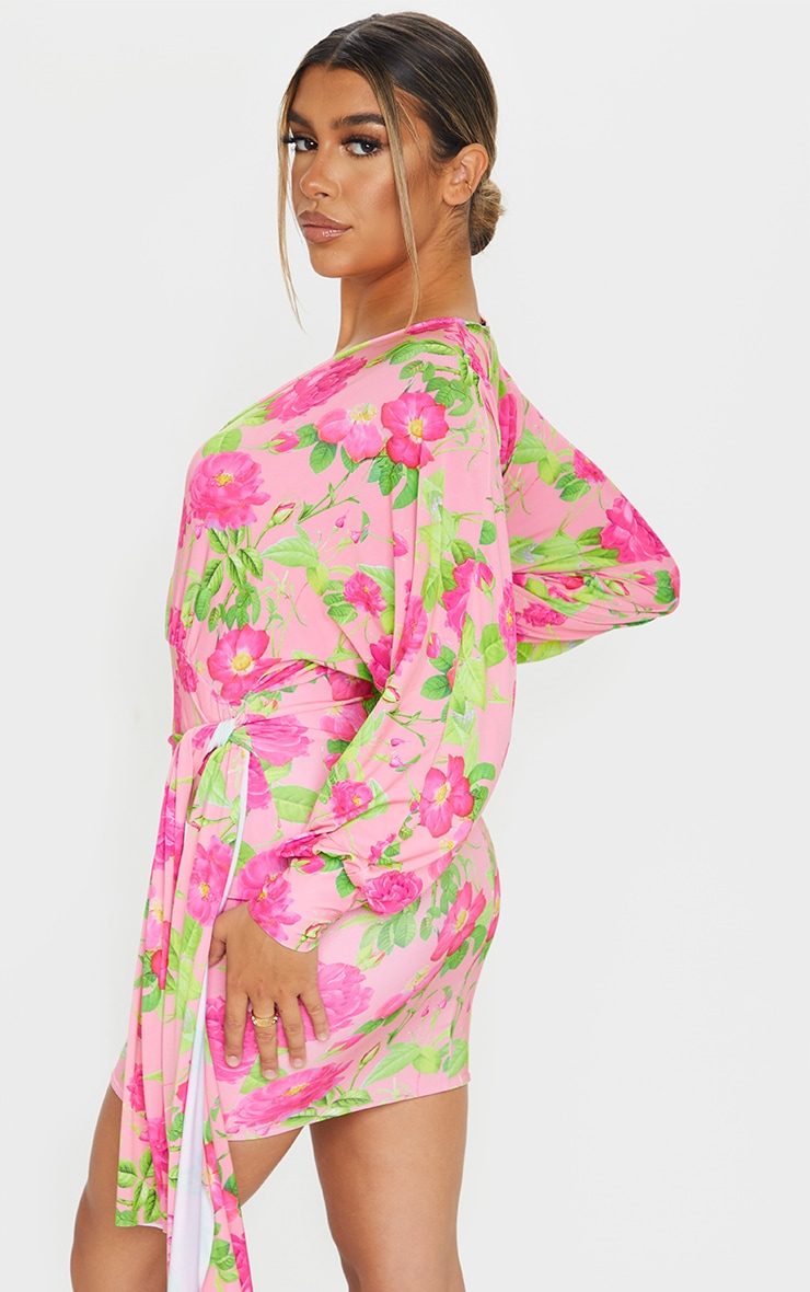 Peach Floral Slinky Plunge Drape Bodycon Dress 2