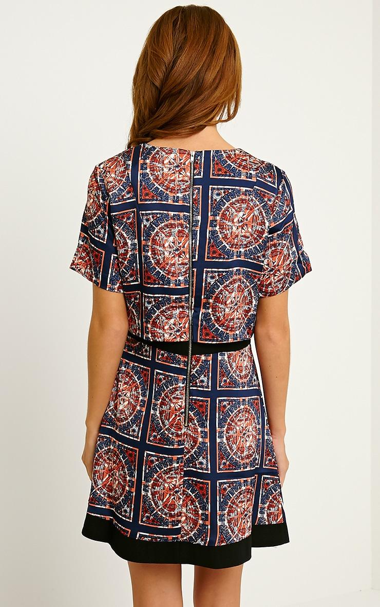 Leonarda Orange A-Line Printed Layered Shift Dress 2