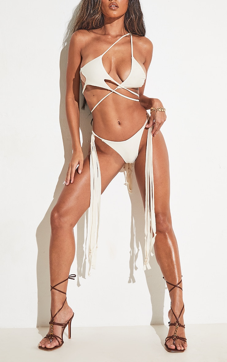 Cream High Leg Tassel Side Bikini Bottoms 4