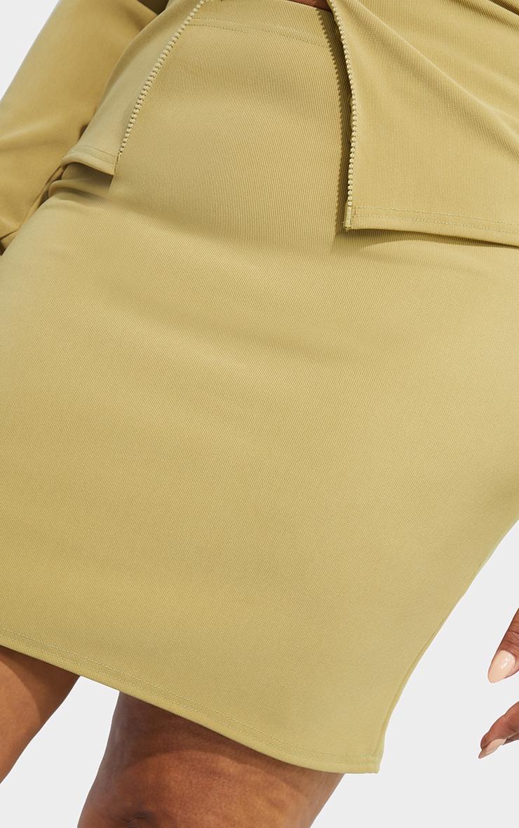 Recycled Plus Light Khaki Rib Bodycon Skirt 5