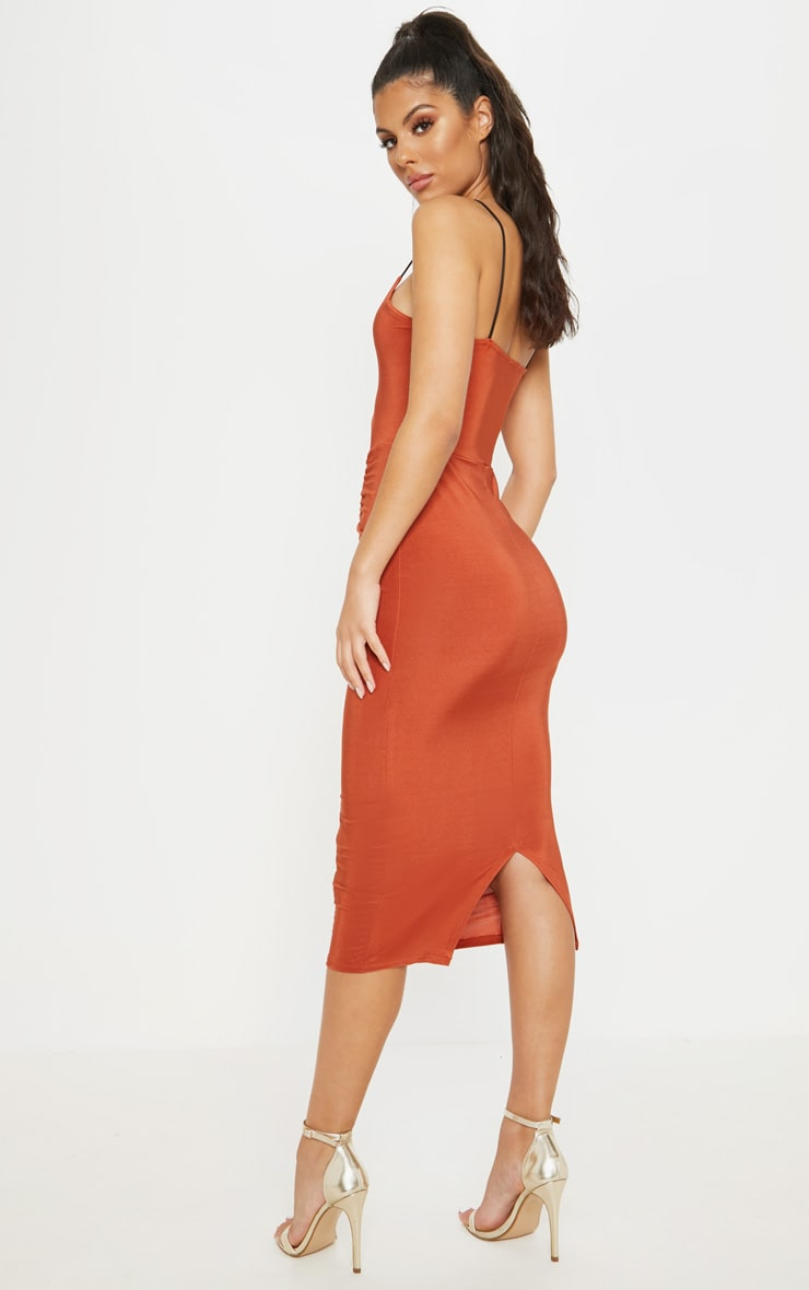 Rust Cut Out Detail Ruched Front Midaxi Dress 2