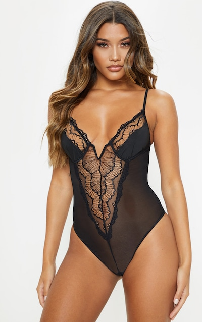 8d93139b9 Black V Wire Mesh And Lace Body