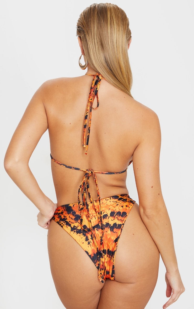 Orange Feather High Brazilian Bikini Bottom 4