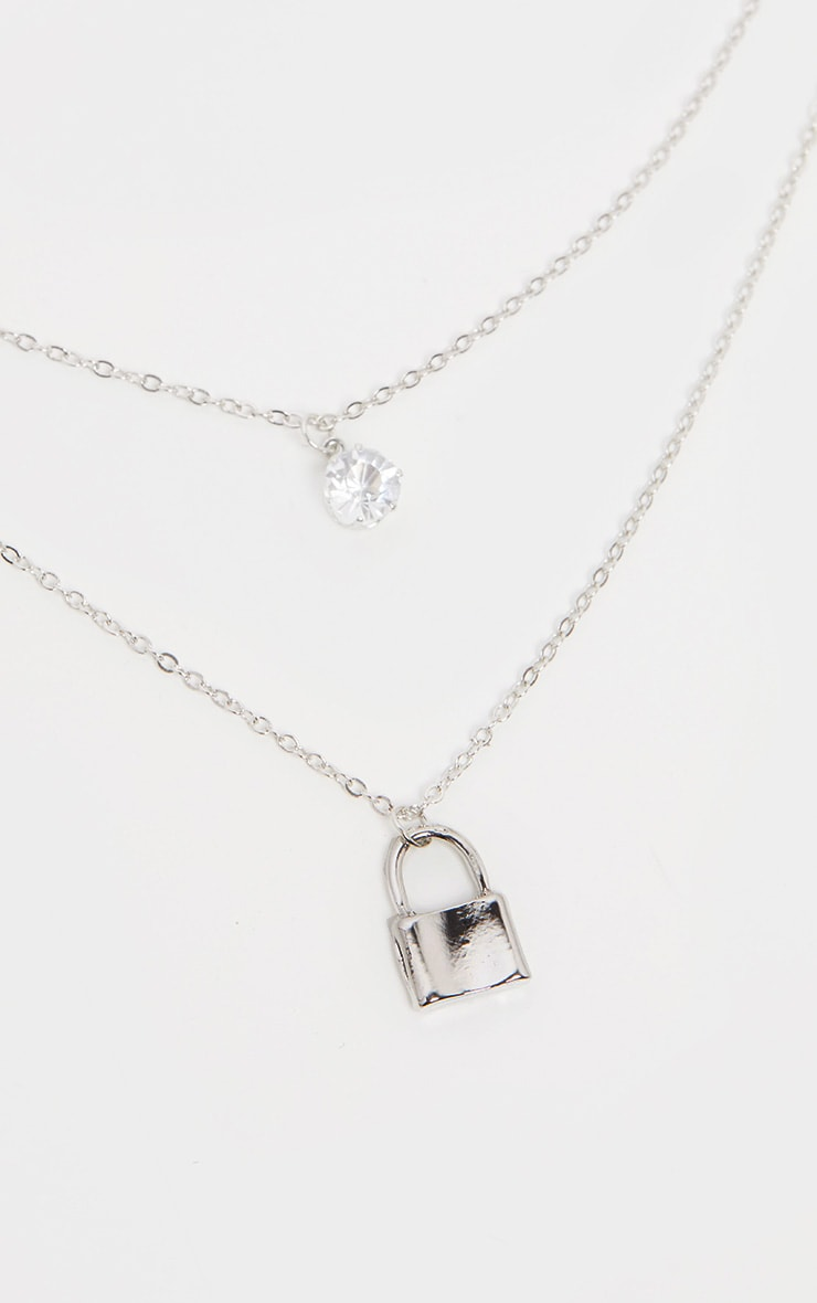 Silver Padlock And Diamante Layering Necklace 3