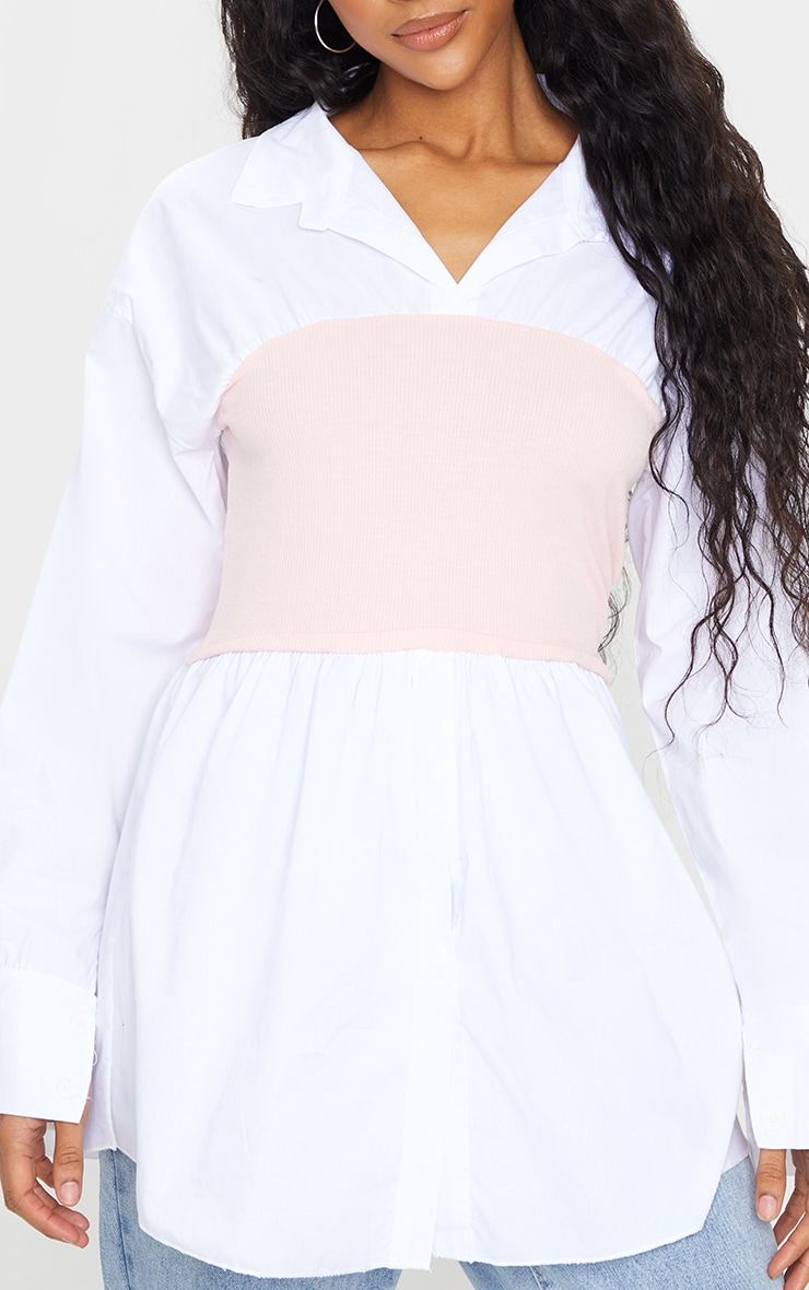 Nude Rib Bust Panel White Puff Sleeve Shirt 4