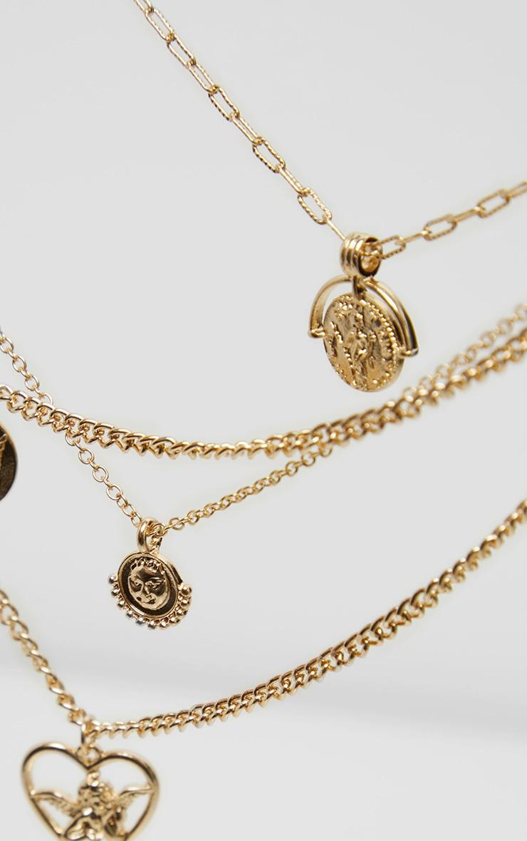 Gold Cherub Charm Multi Layering Necklace 4