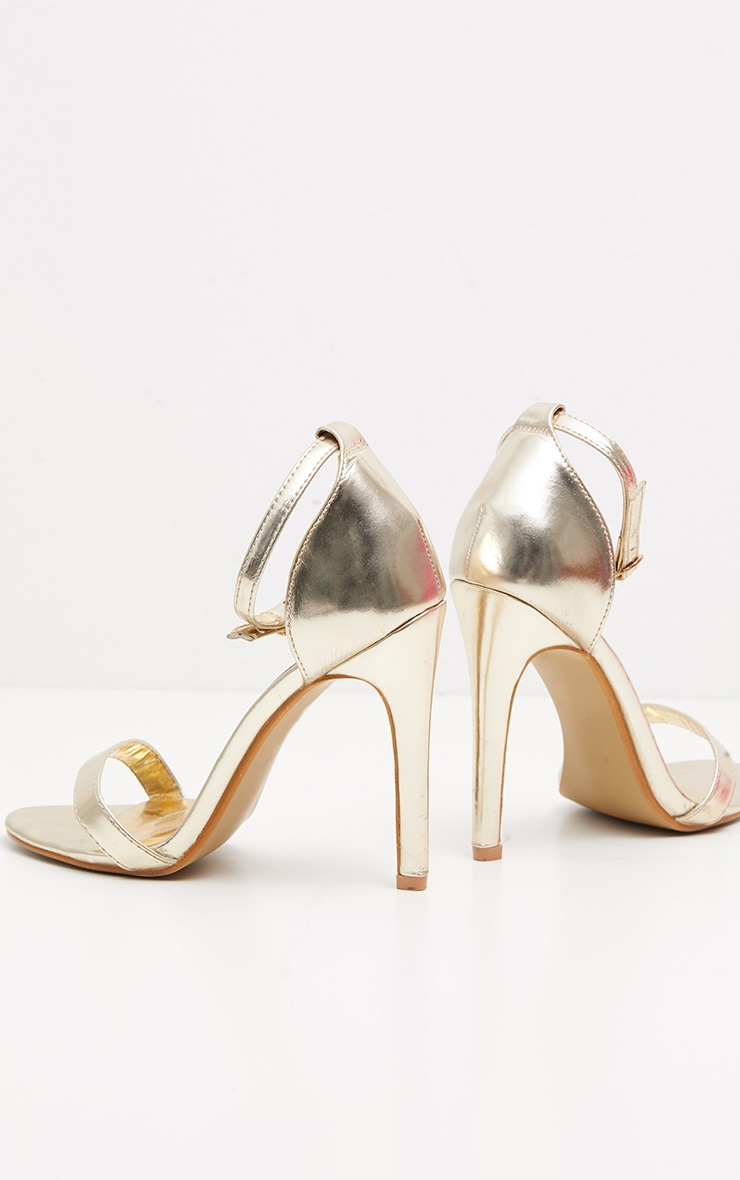 Gold Metallic Heeled Strappy Sandal 3