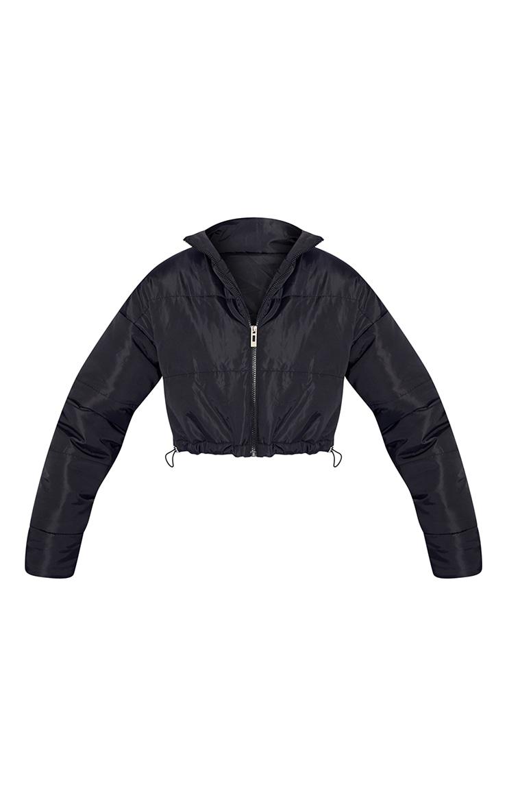 Black Nylon Super Cropped Toggle Hem Puffer Jacket 5