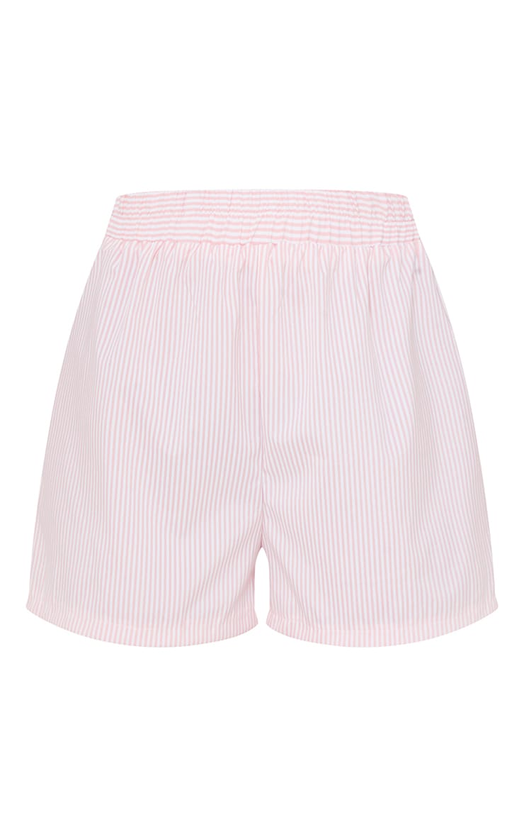 Peach Pinstripe Contrast Pocket Runner Shorts 6