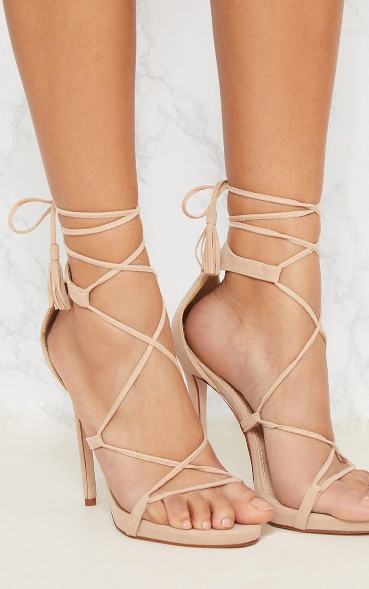 Rosaline Nude Tassel Lace Up Heels 5