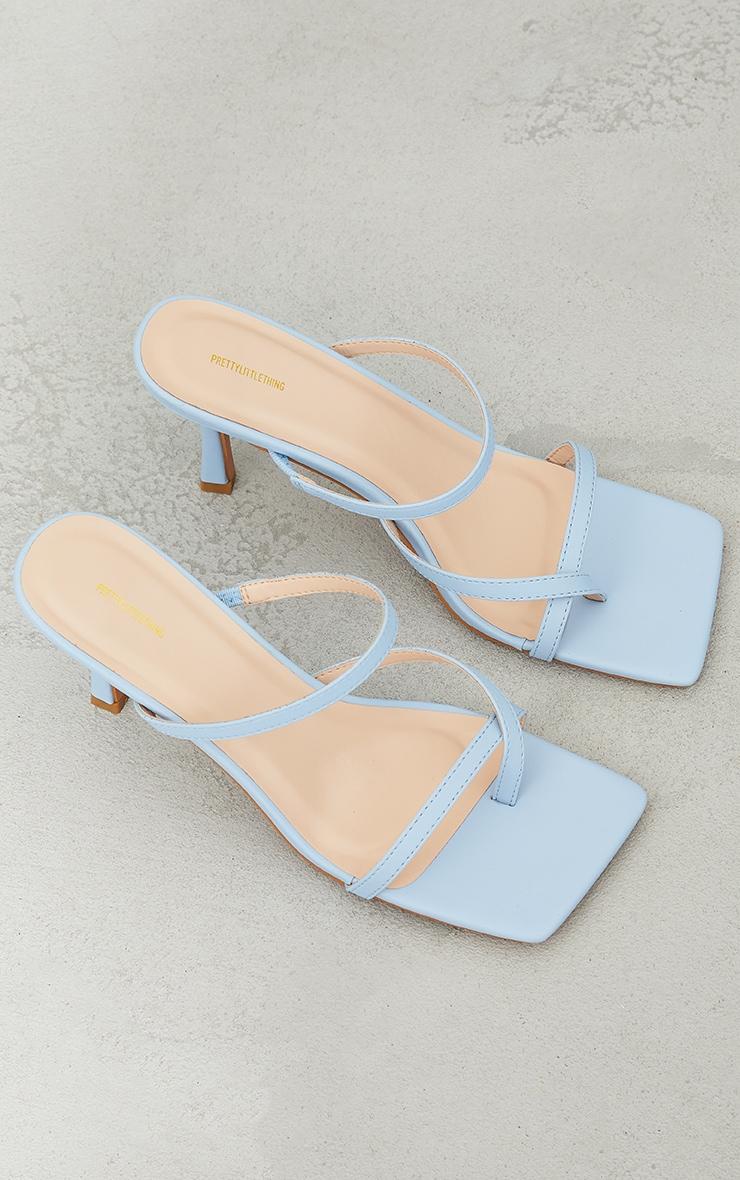 Blue Toe Loop Low Heel Mules 3
