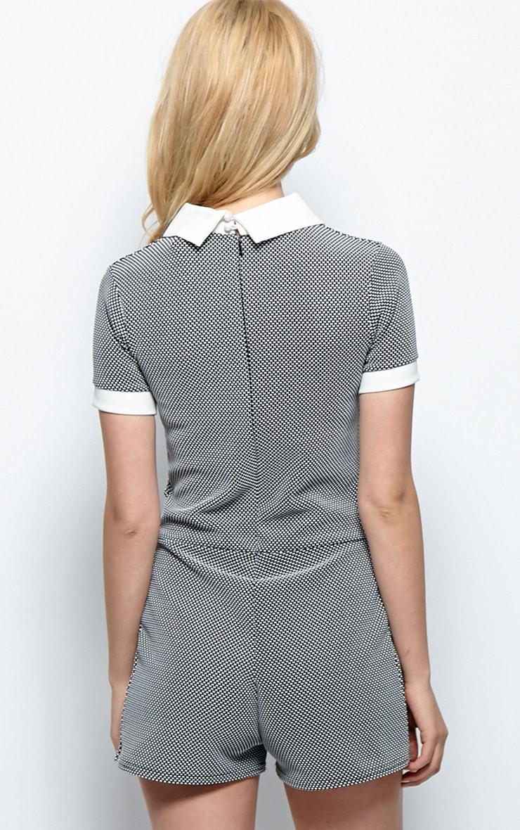 Fifi Black & White Gingham Collar Playsuit 2