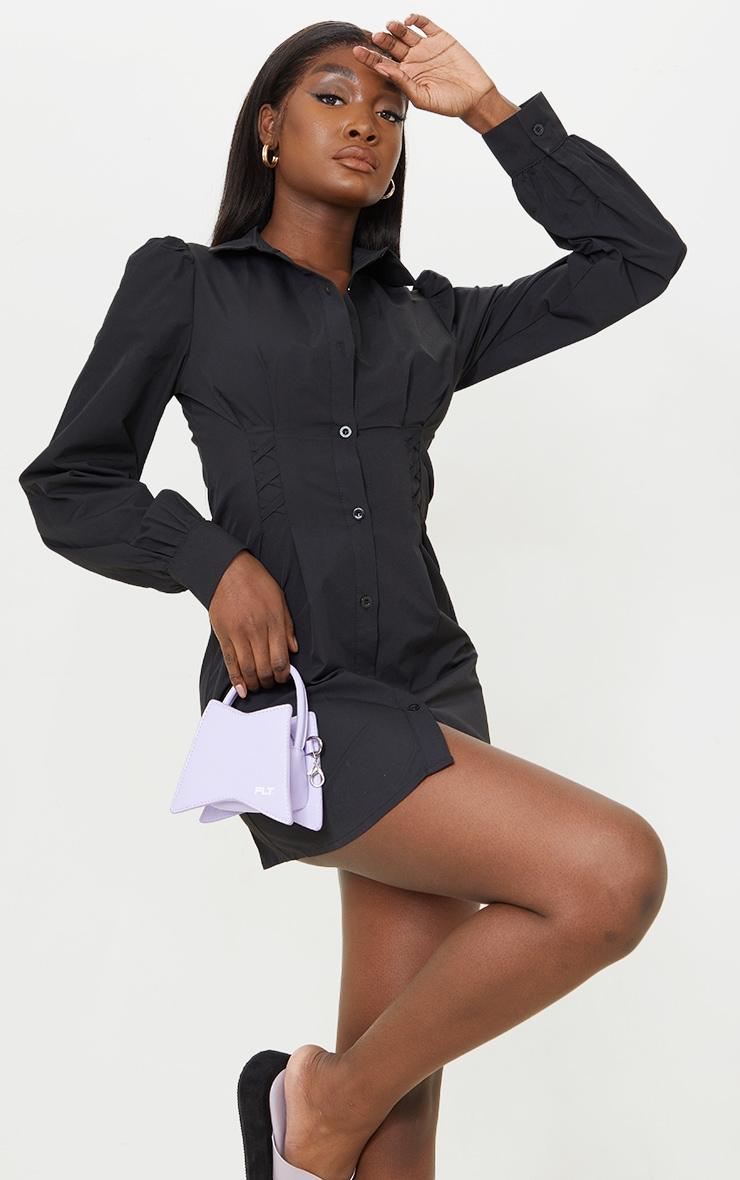 Tall Black Corset Detail Long Sleeve Shirt Dress  1