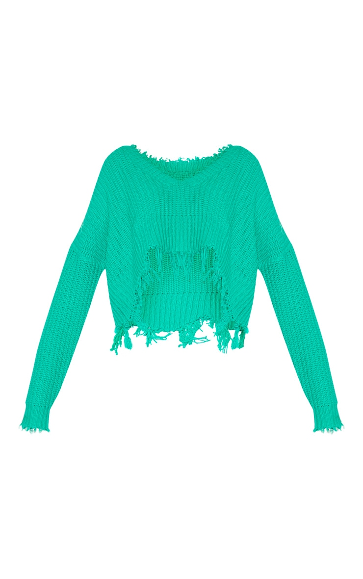 Green Fringe Hem Knitted Sweater 6
