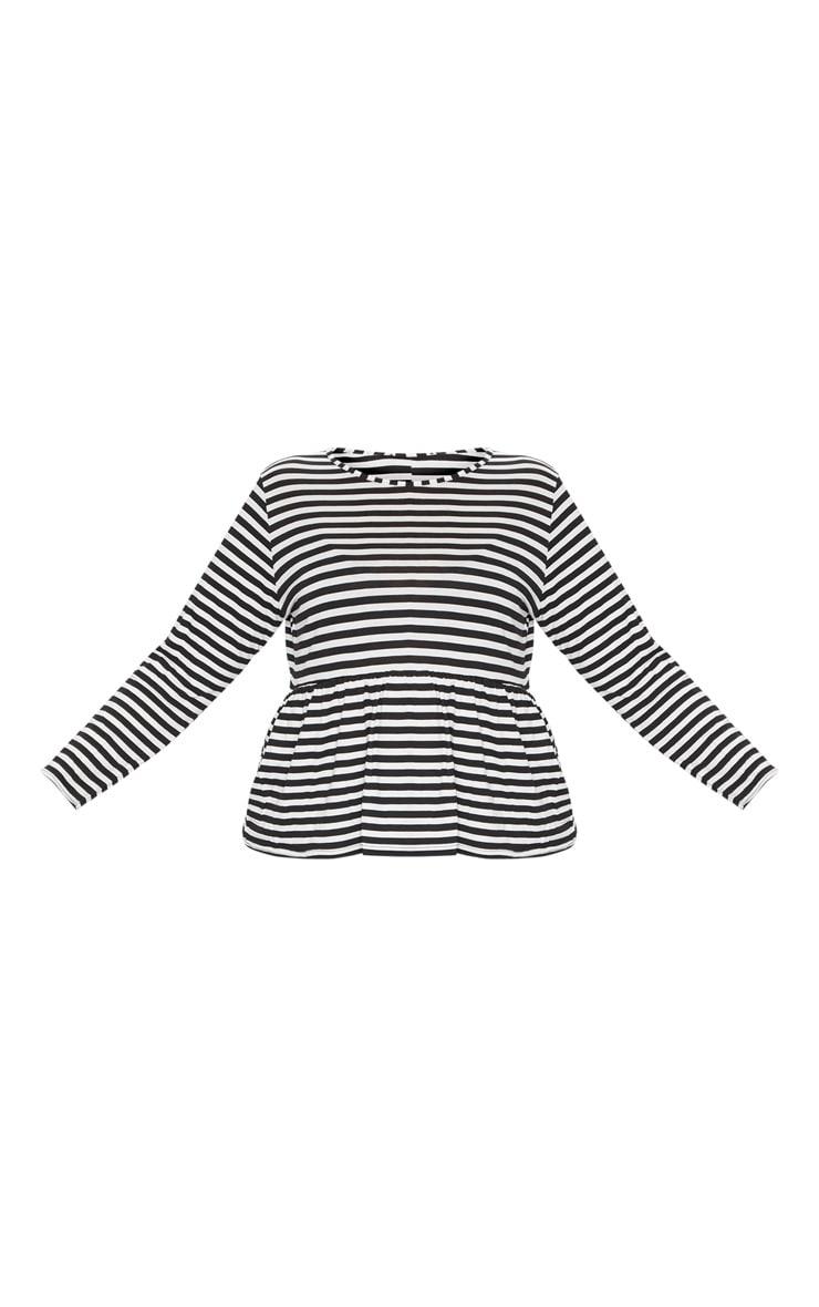 Plus Black Striped Frill Hem T Shirt 3