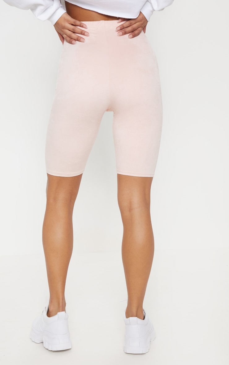 Pastel Pink Faux Suede Cycle Short 4
