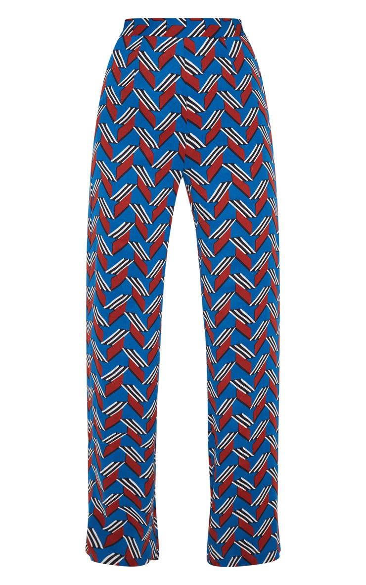 Blue Chevron Colourblock Wide Leg Pants 3