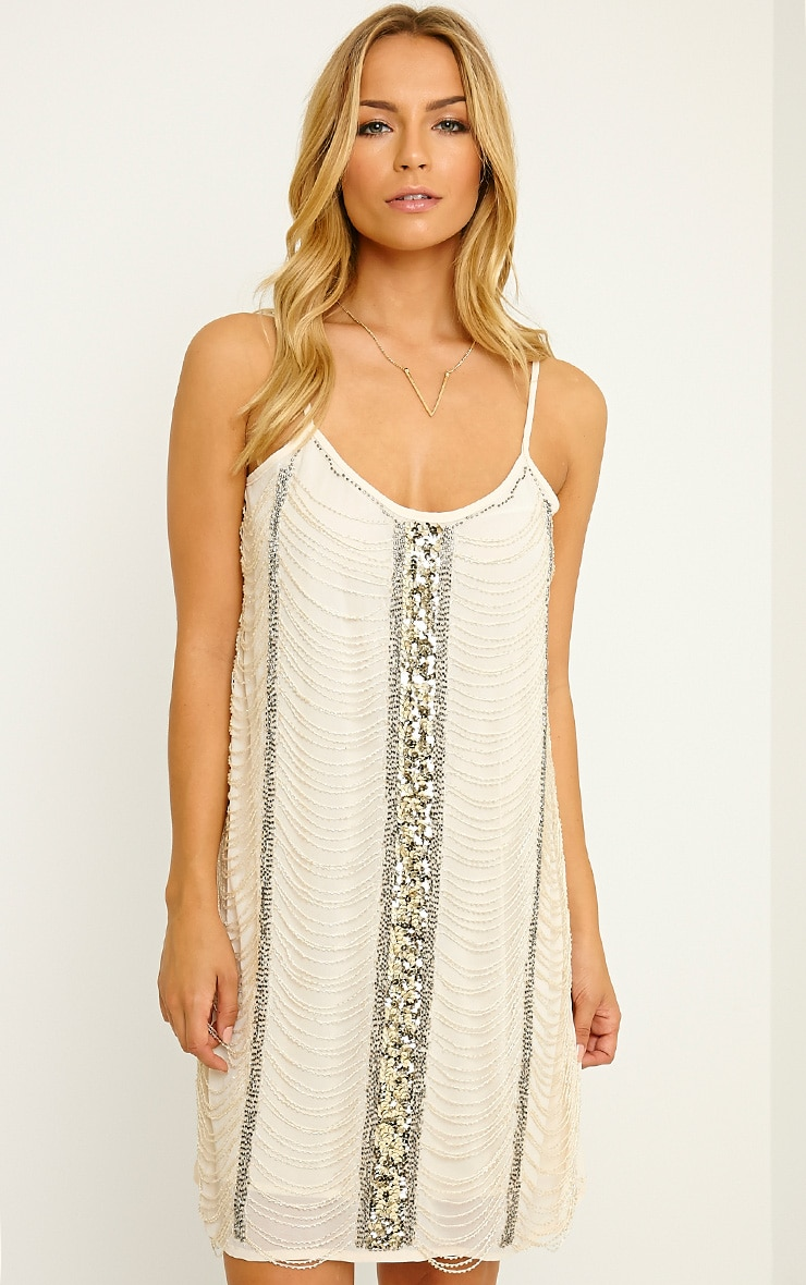 Yvette Cream Beaded Cami Dress 1