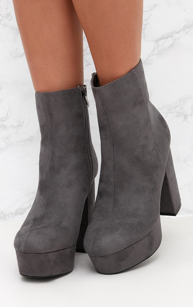 Grey Faux Suede Block Heel Ankle Boot 2