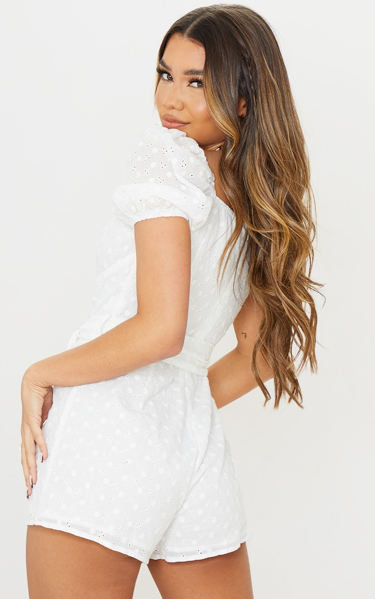 White Broderie Anglaise Puff Sleeve Cup Detail Playsuit 2