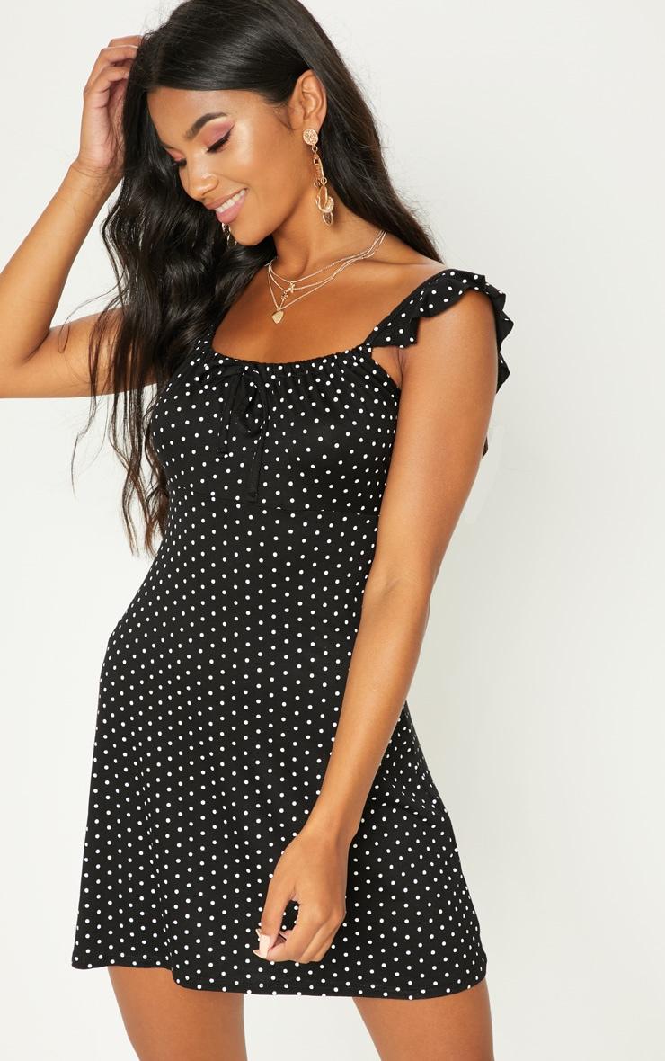 Black Polka Dot Frill Sleeve Skater Dress 1