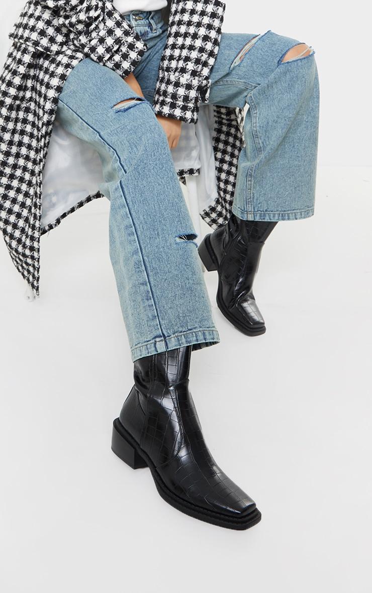 Black Matte Pu Croc Square Toe Heeled Western Boots 1
