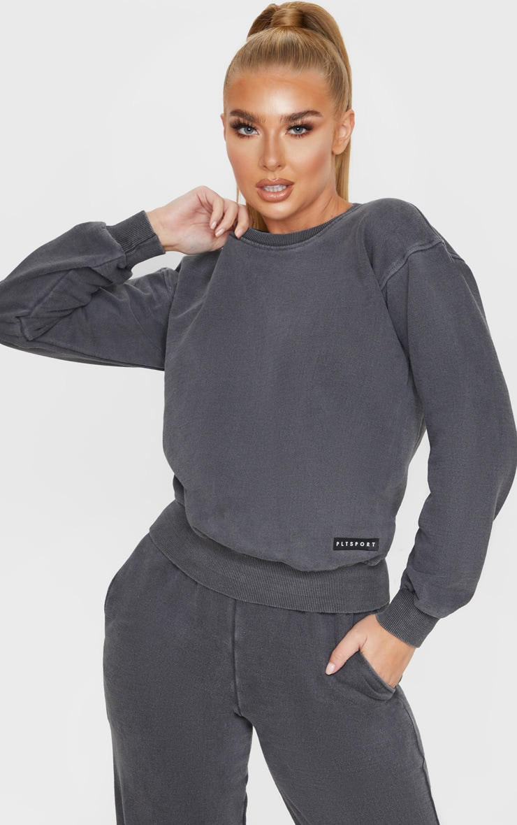 PRETTYLITTLETHING Charcoal Badge Detail Sport Sweater 1