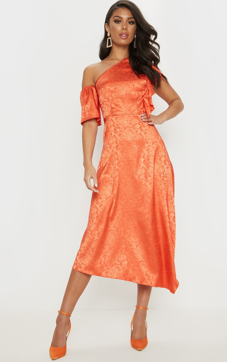 Orange Floral Jacquard Frill Detail Skater Midi Dress by Prettylittlething