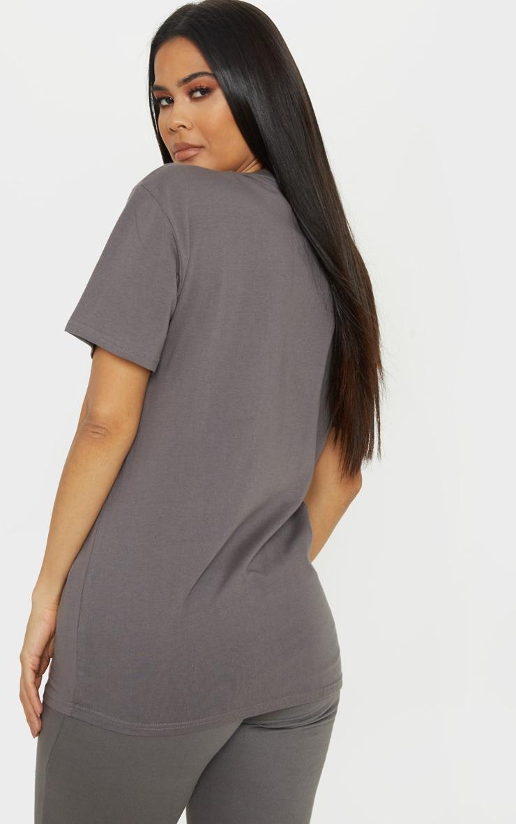 PRETTYLITTLETHING - T-shirt oversize gris anthracite à slogan 2