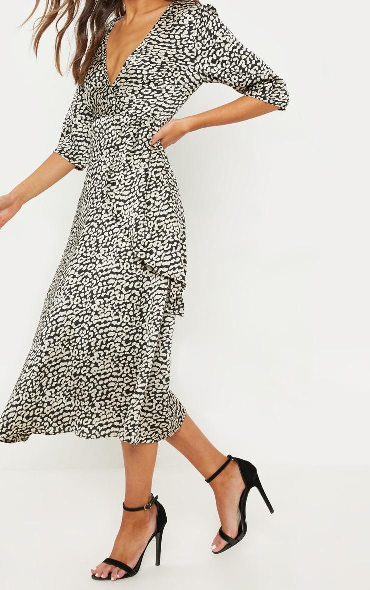 Monochrome Leopard Print Satin Drape Detail Skater Midi Dress  5