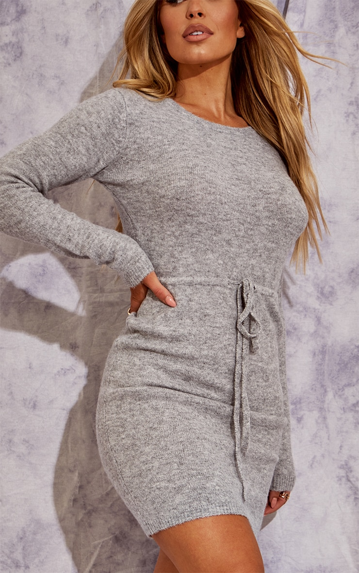 Recycled Grey Knitted Drawstring Mini Dress 4