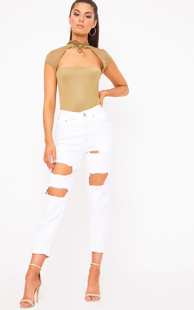 Khaki Slinky Mesh Choker Square Cut Thong Bodysuit 5