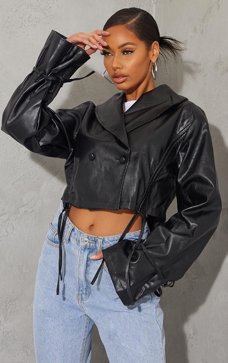 Black Faux Leather Ruched Side Tie Sleeve Cropped Biker Jacket 3