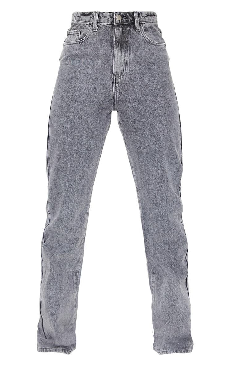 PRETTYLITTLETHING Tall Grey Acid Wash Straight Leg Jeans 5