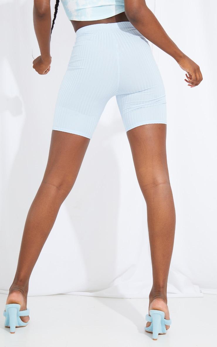 Tall Baby Blue Ribbed Cycle Shorts 3