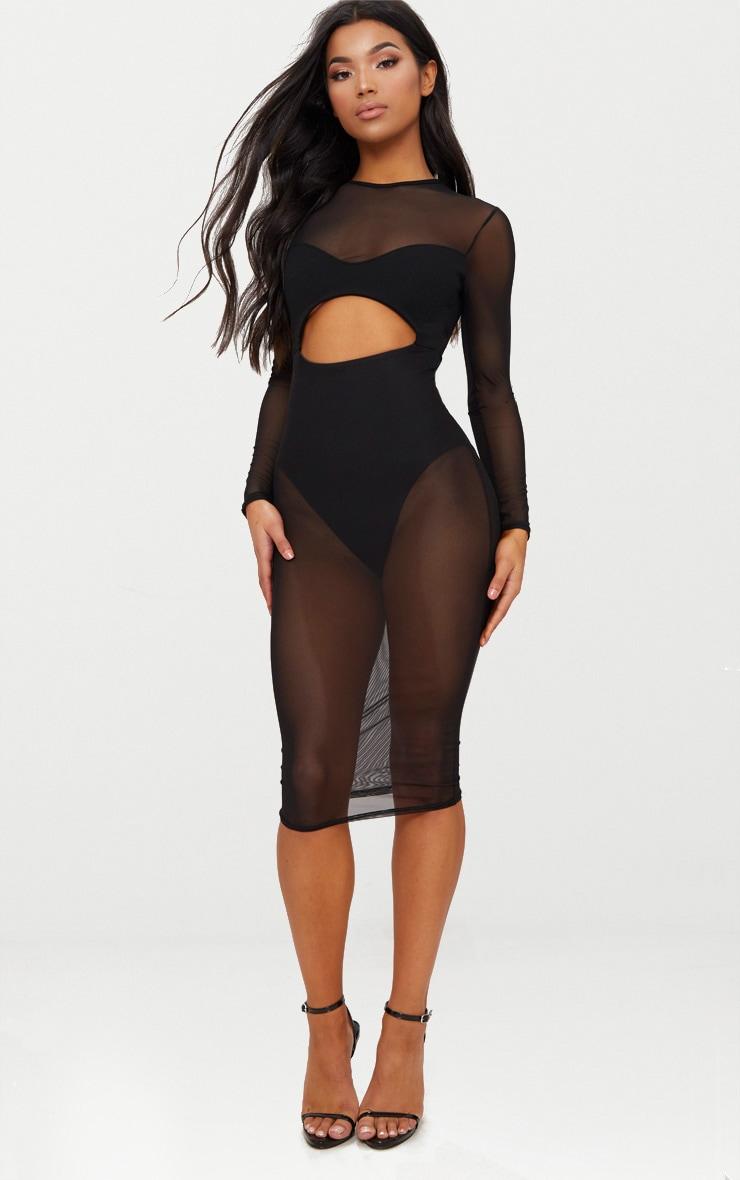 black mesh top cut out detail midi dress