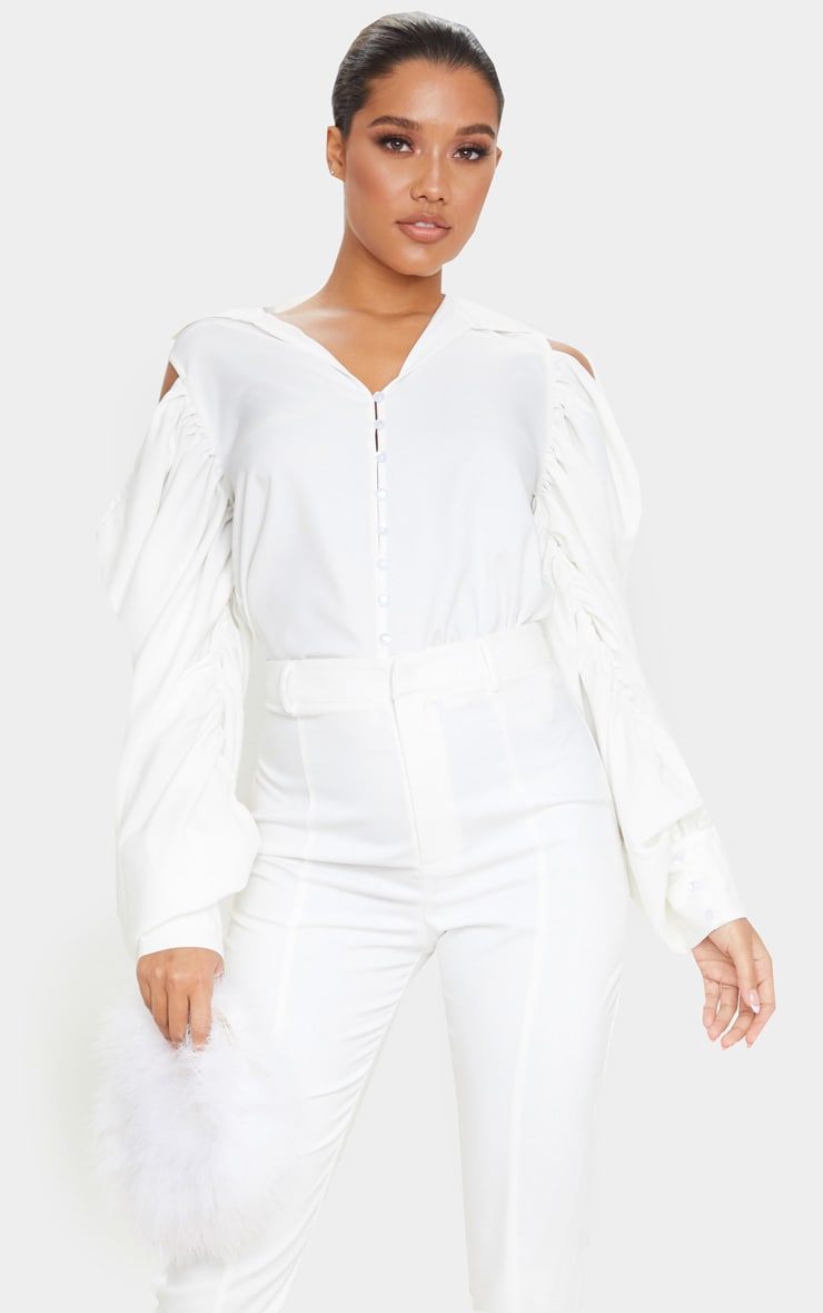 White Woven Cold Shoulder Extreme Sleeve Shirt 1