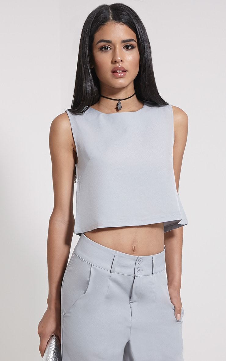 Harlow Grey Boxy Crop Top 4