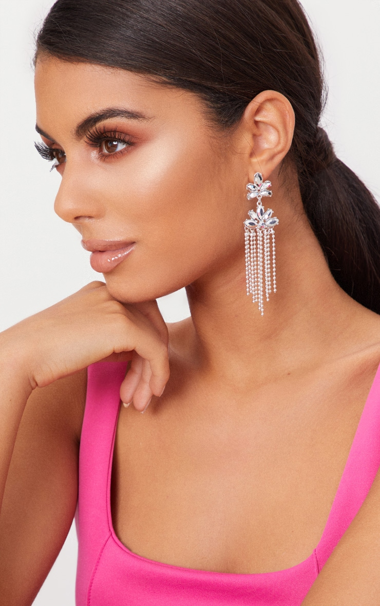 Silver Floral Beaded Tassel Earrings 1