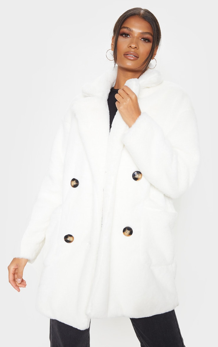Cream Faux Fur Double Breasted Coat 1