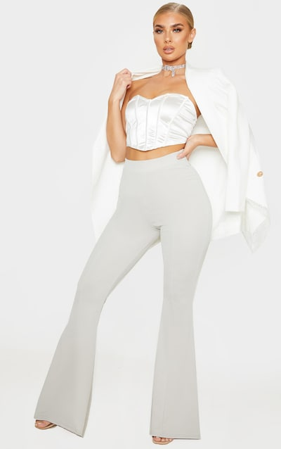 Grey Crepe Extreme Flare Trouser