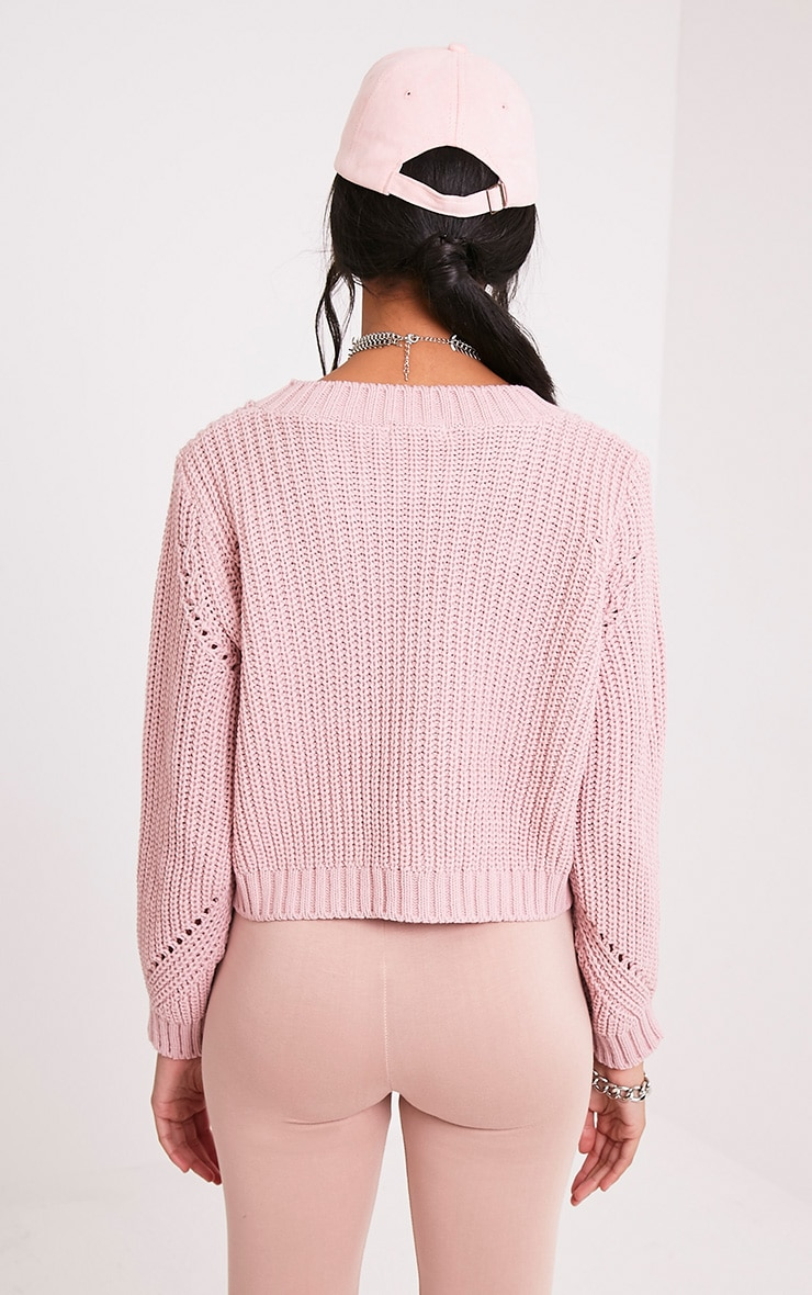 Aine Blush Fisherman Knit Cropped Jumper 2