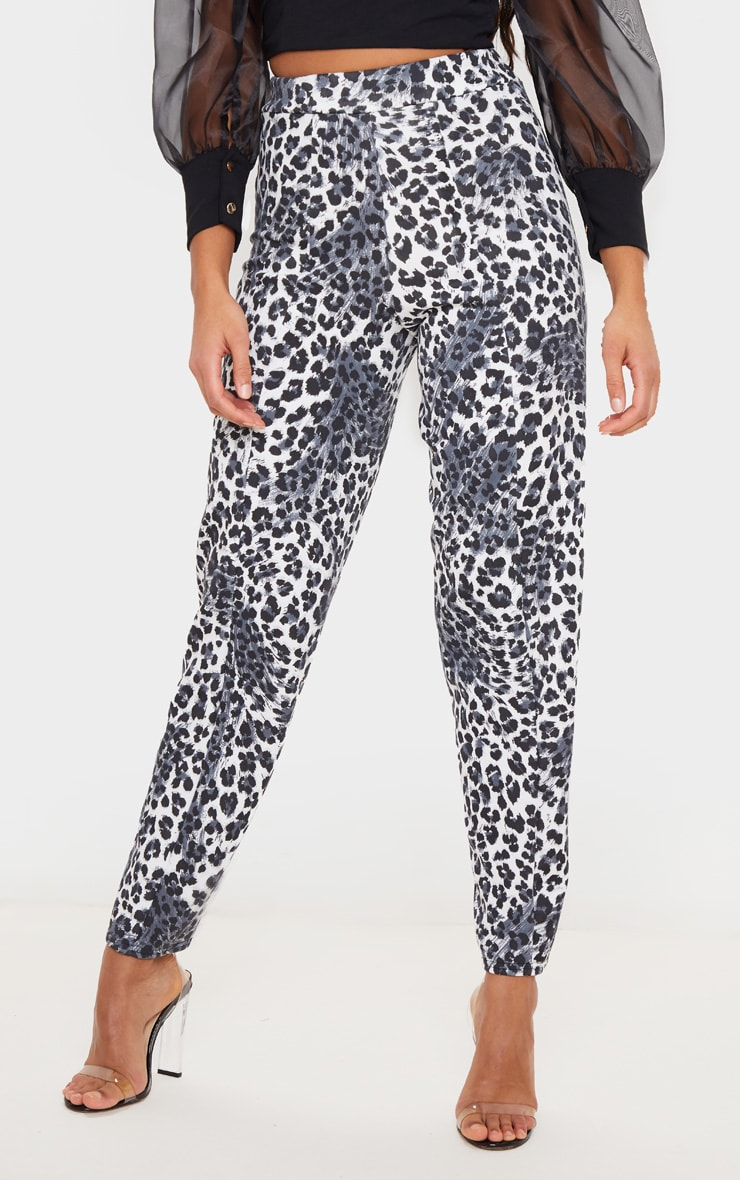 White Snow Leopard Skinny Pants 2