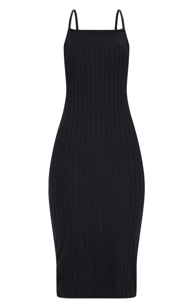 Black Straight Neck Rib Knit Midi Dress 3