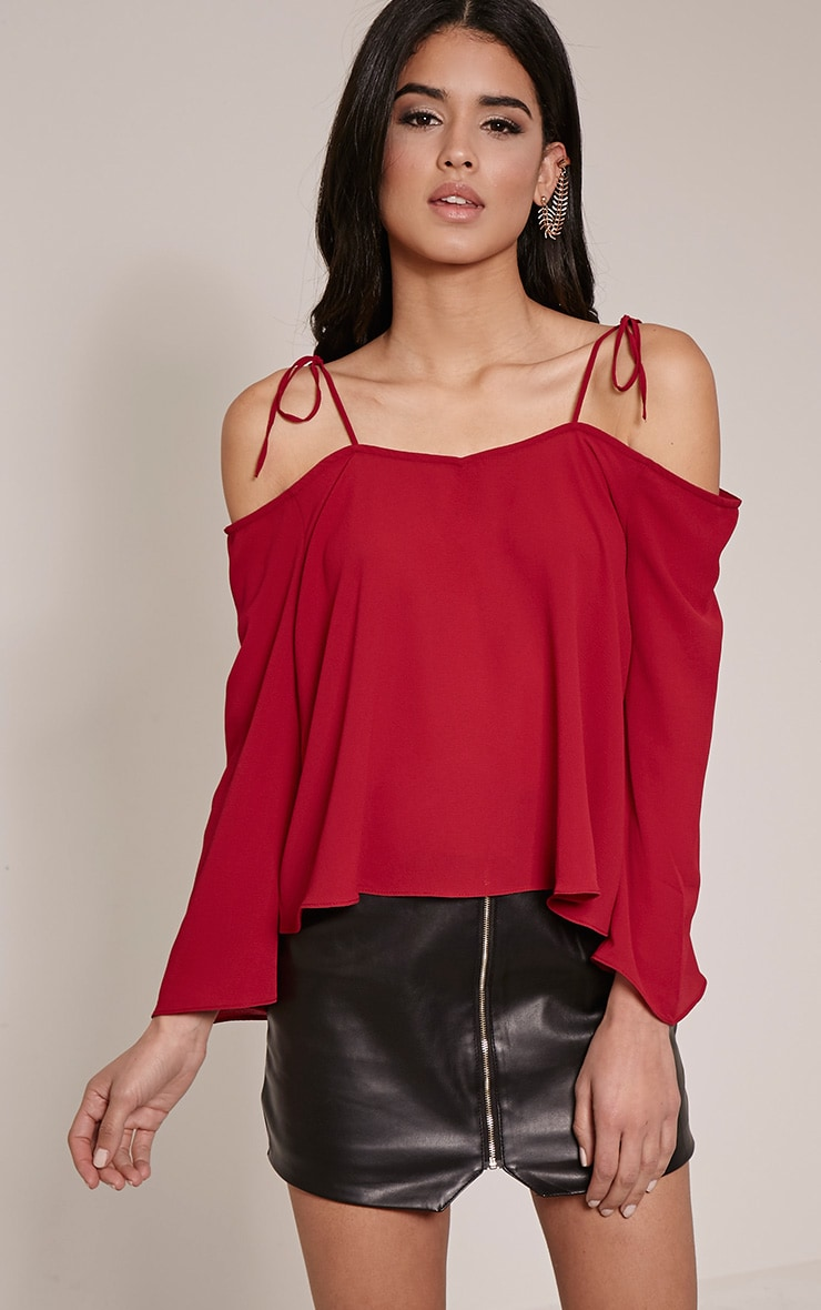 Mel Burgundy Cold Shoulder Bell Sleeve Blouse 1