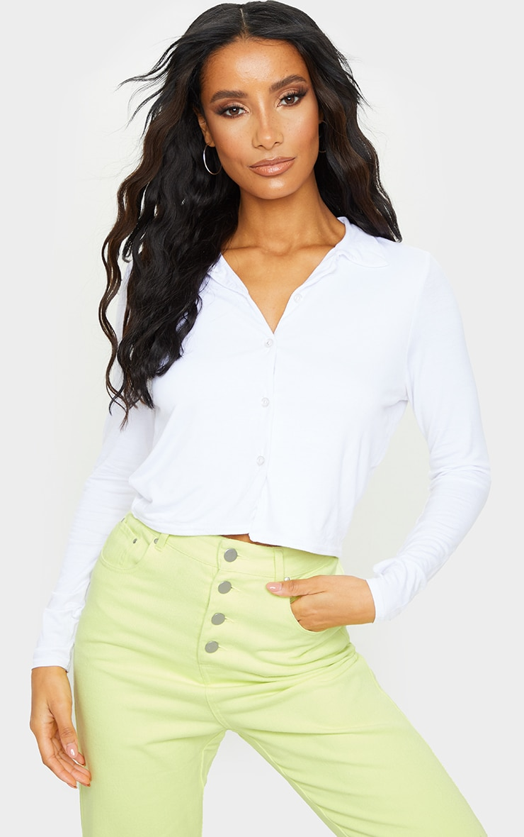 White Jersey Button Up Shirt 1