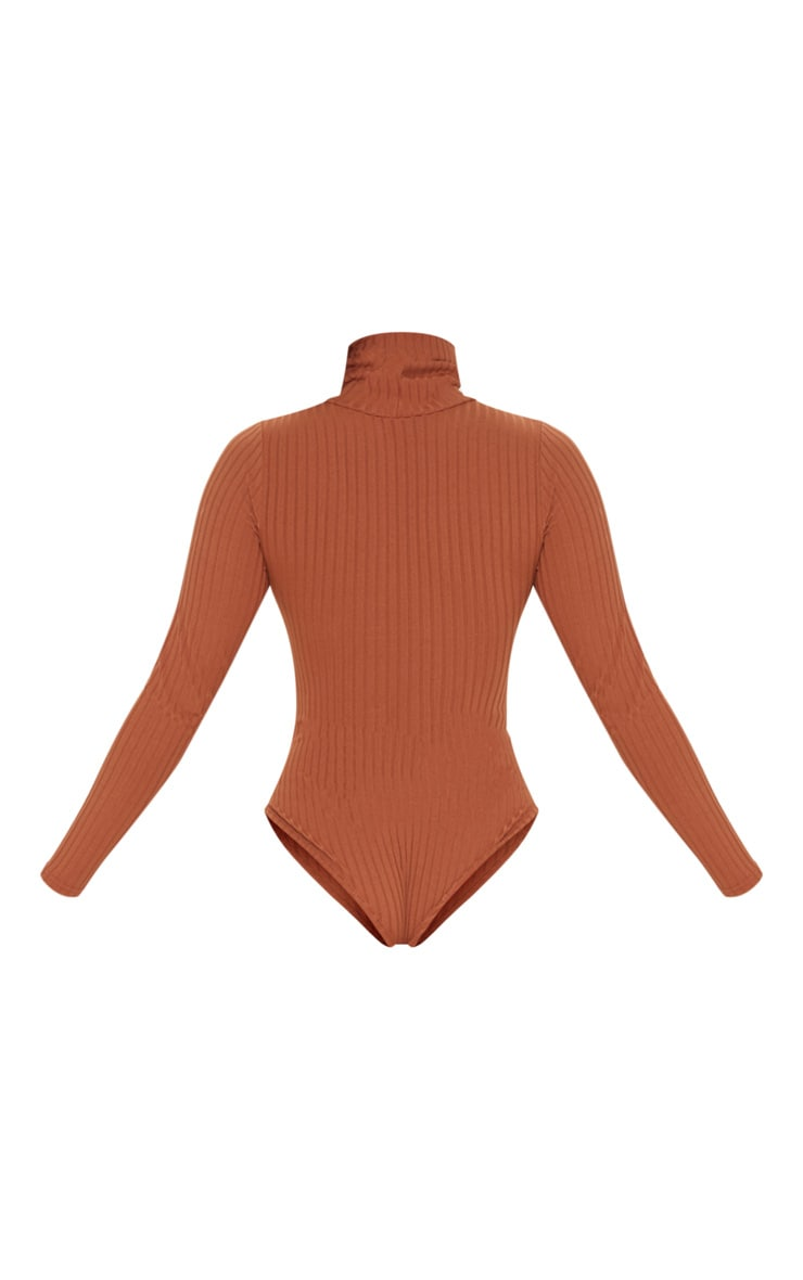 Burnt Orange Rib Roll Neck Long Sleeve Bodysuit 4
